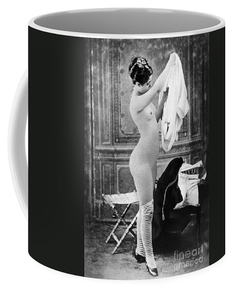 1880 Coffee Mug featuring the photograph Nude In Stockings, C1880 by Granger