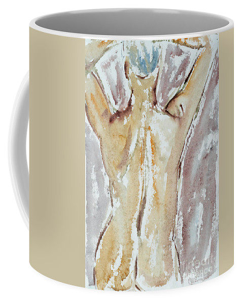 Woman Coffee Mug featuring the painting Nude by Michal Boubin