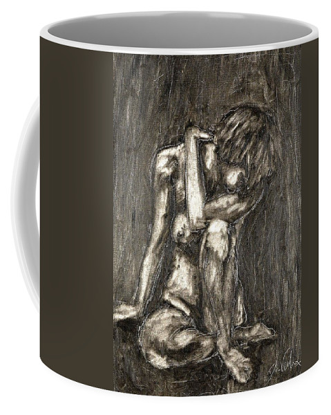Clay Coffee Mug featuring the painting Nude by Thomas Valentine