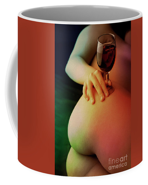 Nude Coffee Mug featuring the painting Nude Wine by Kiran Joshi