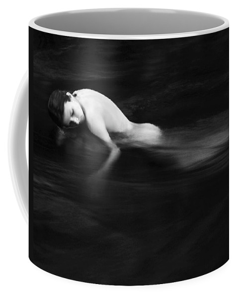 Abstract Coffee Mug featuring the painting Nude Woman In River by Monica and Michael Sweet - Printscapes