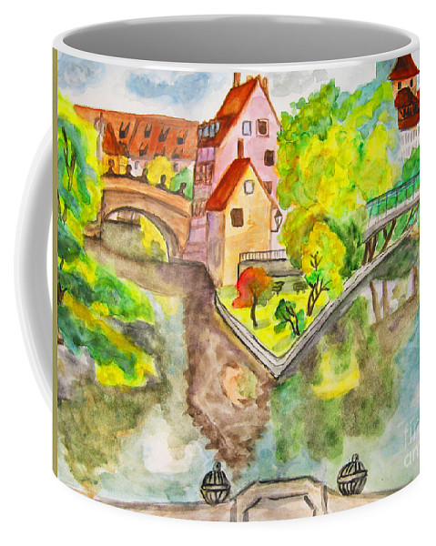 Picture Coffee Mug featuring the painting Nuremberg, Hand Drawn Picture by Irina Afonskaya