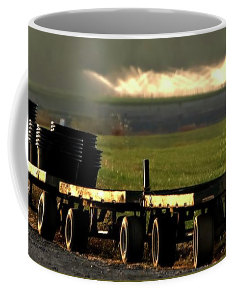 Sunrise Coffee Mug featuring the photograph Nursery Wagons by Jerry Sodorff