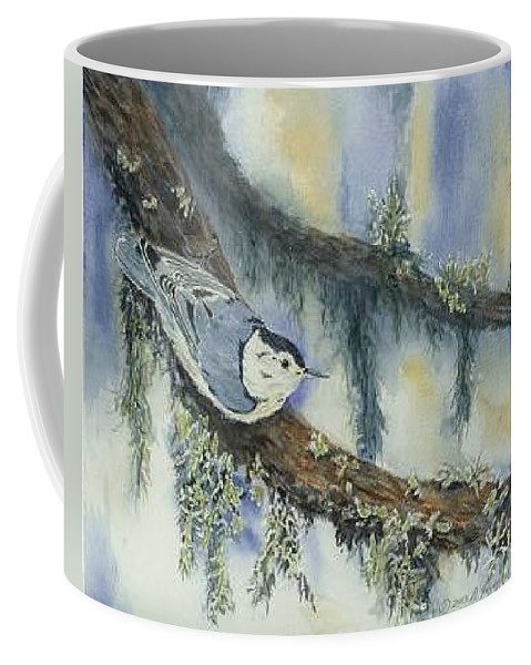 Nuthatch Coffee Mug featuring the painting Nuthatch by Dolores Fegan