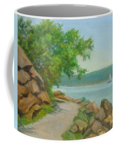 Oil Landscape Coffee Mug featuring the painting Nyack Trail Along The Hudson by Phyllis Tarlow