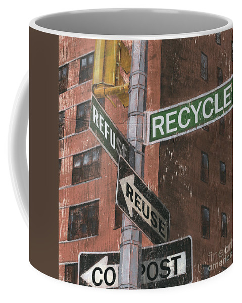 Vintage Coffee Mug featuring the painting NYC Broadway 1 by Debbie DeWitt