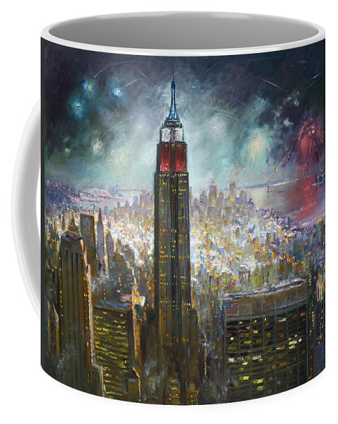 Landscape Coffee Mug featuring the painting Nyc. Empire State Building by Ylli Haruni