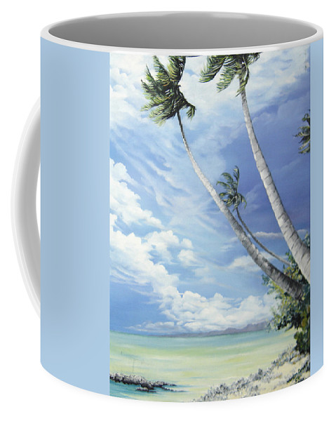 Ocean Painting Seascape Painting Beach Painting Palm Tree Painting Clouds Painting Tobago Painting Caribbean Painting Sea Beach T Obago Palm Trees Coffee Mug featuring the painting Nylon Pool Tobago. by Karin Dawn Kelshall- Best