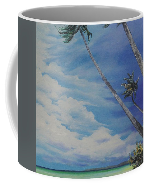 Trinidad And Tobago Seascape Coffee Mug featuring the painting Nylon Pool Tobago. by Karin Dawn Kelshall- Best