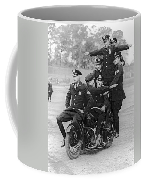 1930's Coffee Mug featuring the photograph Nypd Motorcycle Stunts by Underwood Archives