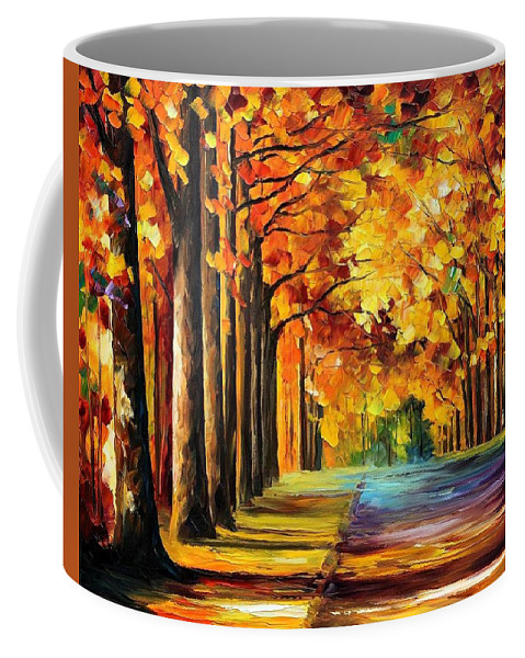Afremov Coffee Mug featuring the painting Oak Alley by Leonid Afremov