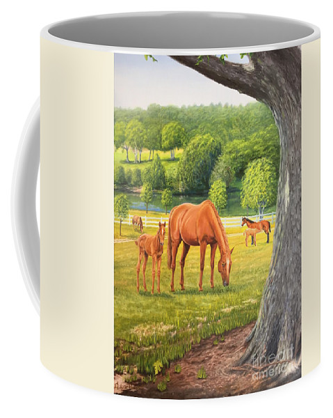 Horse Painting Coffee Mug featuring the painting Oak And Chestnuts by Guy C Lockwood