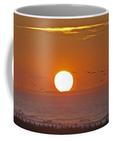 Sunset Coffee Mug featuring the photograph Oak Island Lighthouse by Robert Ponzoni