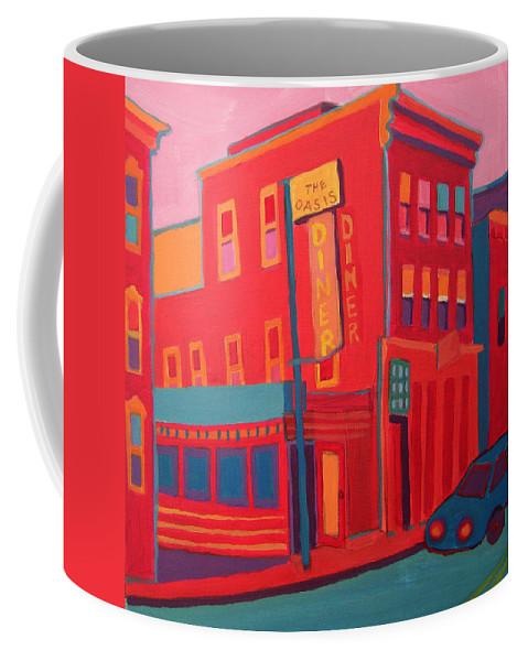 Diner Coffee Mug featuring the painting Oasis Diner Burlington VT by Debra Bretton Robinson