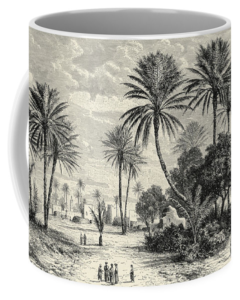 Oasis Of Gafsa Coffee Mug featuring the drawing Oasis Of Gafsa Tunis by Charles Brabant