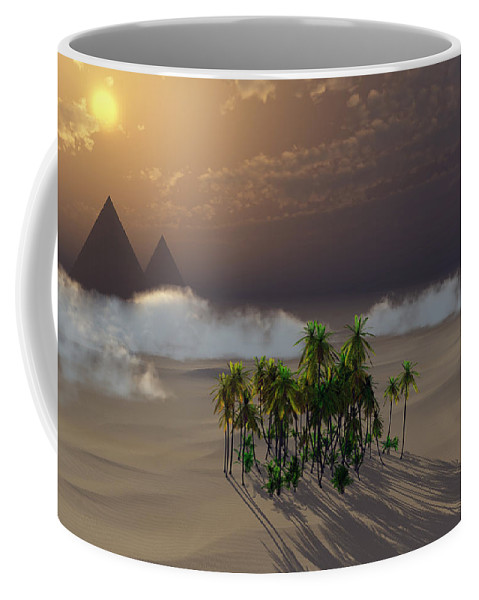 Deserts Coffee Mug featuring the digital art Oasis by Richard Rizzo