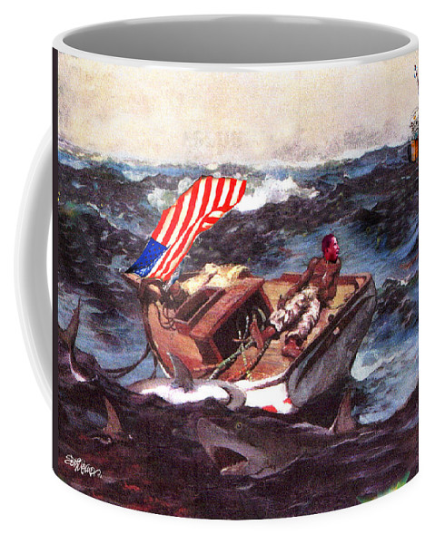 Barak Obama Coffee Mug featuring the digital art Obama At Sea by Seth Weaver