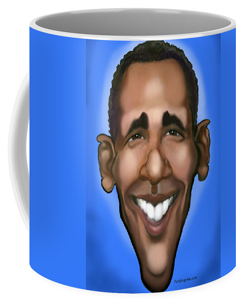 Obama Coffee Mug featuring the painting Obama Caricature by Kevin Middleton