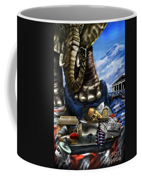 Political Satire Painting Coffee Mug featuring the painting Obama by Reggie Duffie