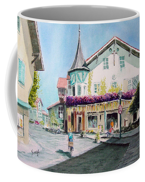 German Coffee Mug featuring the painting Oberammergau Street by Sam Sidders