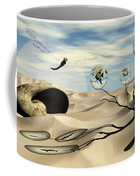 Surrealism Coffee Mug featuring the digital art Observations by Richard Rizzo