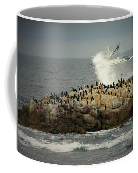Boat Coffee Mug featuring the photograph Ocean Angel II Splashed And Birds by Joyce Dickens
