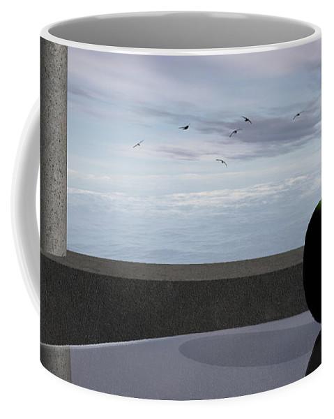 Modern Coffee Mug featuring the digital art Ocean Balcony by Richard Rizzo