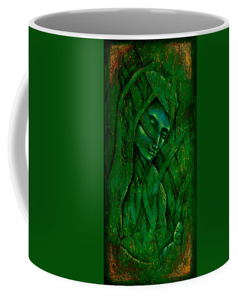 Native American Coffee Mug featuring the painting Ocean Birth by Kevin Chasing Wolf Hutchins