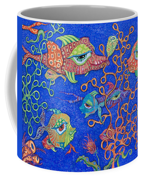 Fish In The Ocean Coffee Mug featuring the painting Ocean Carnival by Tanielle Childers