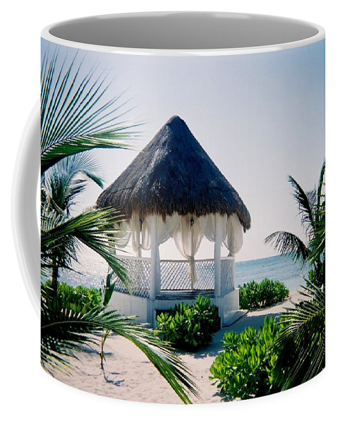 Resort Coffee Mug featuring the photograph Ocean Gazebo by Anita Burgermeister