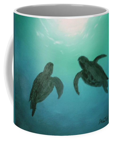 Turtles Acending Into The Surface Light From The Ocean Deep. Coffee Mug featuring the painting Ocean Light by Jim Saltis