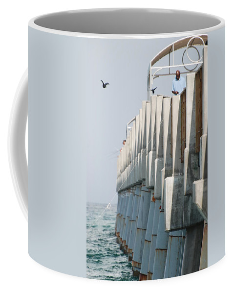 Fishing Coffee Mug featuring the photograph Ocean Pier by Rob Hans