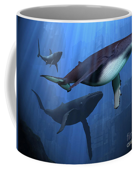 Whale Coffee Mug featuring the painting Ocean Ruins by Corey Ford