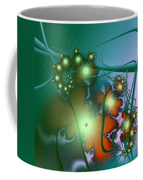 Abstract Coffee Mug featuring the digital art Ocean Secrets Abstract by Georgiana Romanovna