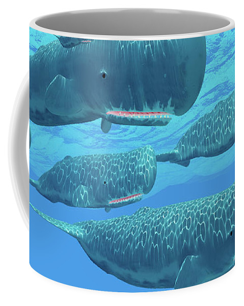 3d Illustration Coffee Mug featuring the painting Ocean Sperm Whales by Corey Ford