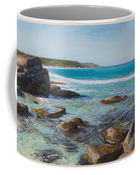 Pastel Coffee Mug featuring the painting Oceans Edge by Gary Leathendale