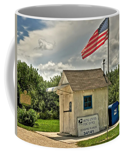 Ochopee Coffee Mug featuring the digital art Ochopee Florida Post Office by Ginger Wakem