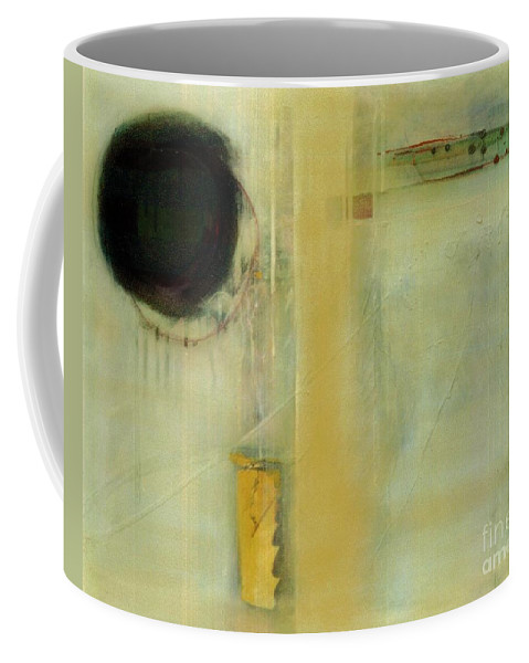 Abstract Coffee Mug featuring the painting Ochre Wash Jump by Marlene Burns