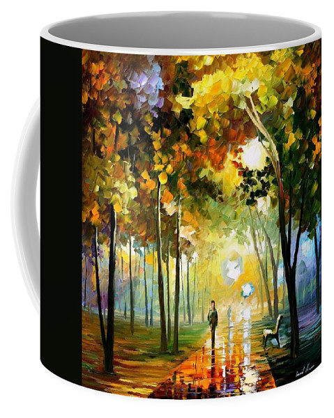 Art Gallery Coffee Mug featuring the painting October Reflections - Palette Knife Oil Painting On Canvas By Leonid Afremov by Leonid Afremov