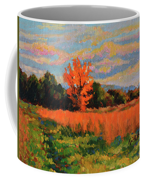 Impressionism Coffee Mug featuring the painting October Sky by Keith Burgess