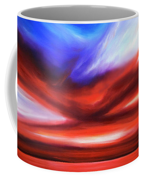 Sunrise; Sunset; Power; Glory; Cloudscape; Skyscape; Purple; Red; Blue; Stunning; Landscape; James C. Hill; James Christopher Hill; Jameshillgallery.com; Ocean; Lakes; Storm; Tornado; Lightning Coffee Mug featuring the painting October Sky V by James Christopher Hill