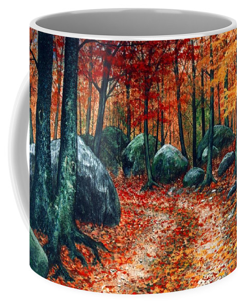 Landscape Coffee Mug featuring the painting October Woodland by Frank Wilson