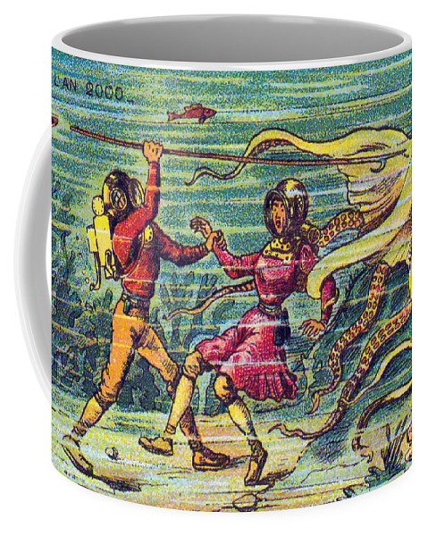 Science Coffee Mug featuring the photograph Octopus Attack, 1900s French Postcard by Science Source
