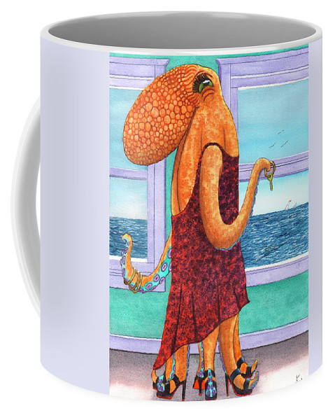 Octopus Coffee Mug featuring the painting Octopus in a Cocktail Dress by Catherine G McElroy