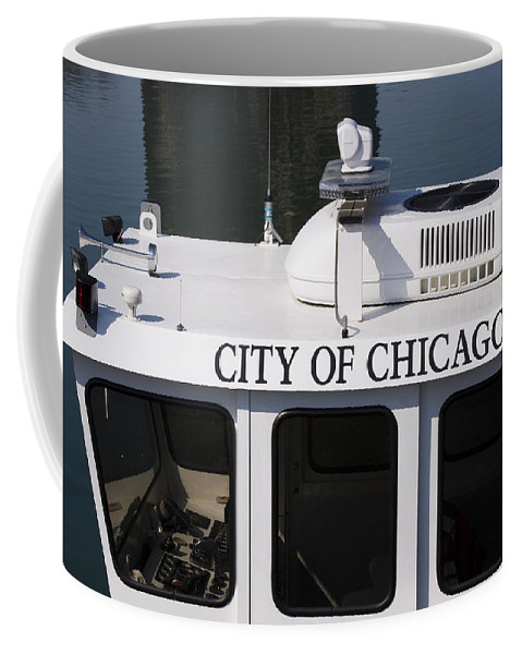 Chicago Windy City Police Boat Lake Michigan Water White Coffee Mug featuring the photograph Off Duty by Andrei Shliakhau