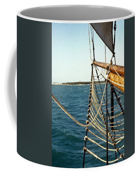 Ship Coffee Mug featuring the photograph Off The Bow by Douglas Barnett