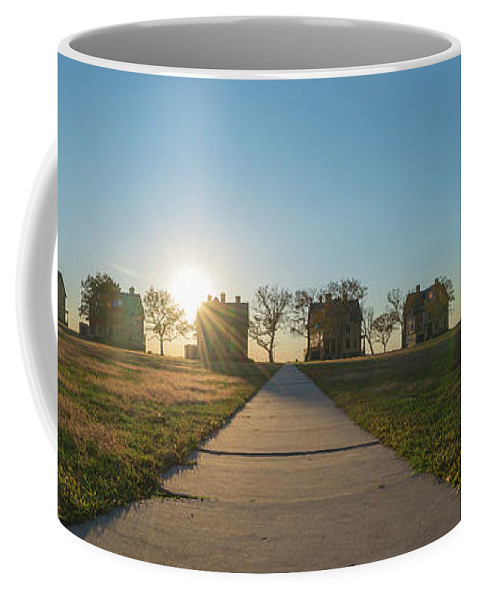 Officers Row Coffee Mug featuring the photograph Officers Row Panorama Sunset by Michael Ver Sprill
