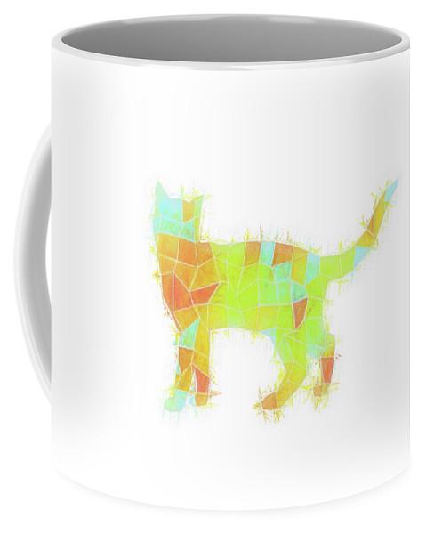 Geometric Coffee Mug featuring the digital art Oh, Hi Cat by Tonya Doughty
