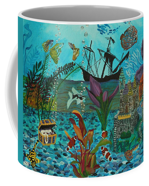 Fish Coffee Mug featuring the painting Oh Look A Castle by David Bigelow