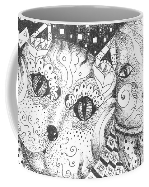 Cat. Cats Coffee Mug featuring the drawing Oh Purr... by Helena Tiainen